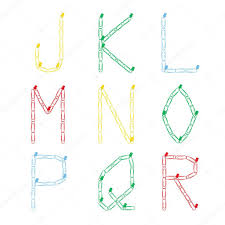 Alphabet From Colored Paper Clips On A Pushpin The Letters J K