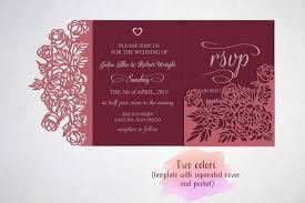 Tri Fold Wedding Invitation Card Template Laser Cut Sxg Dxf