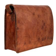 full flap tablet bag handmade large brown leather courier messenger bag