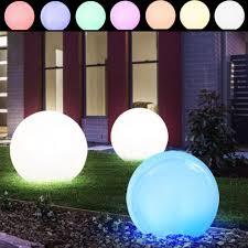 set of 3 luxury led spheres solar decoration spotlights white garden path lamps