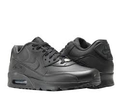 nike air max 90 leather black black men s running shoes 302519 001