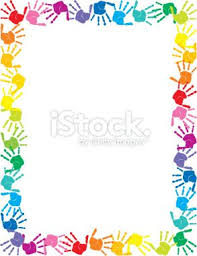 Preschool Page Borders Colorful Hand Prints Stationery Printables Pinterest Page