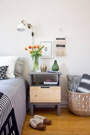 Diy ikea tarva Dresser Makeover Ikea Hack Nightstand Edition Tarva Nightstand With Cutout Handles Curbly Ikea Nightstand Hack 20 How To Create Cutout Drawer Pull Curbly