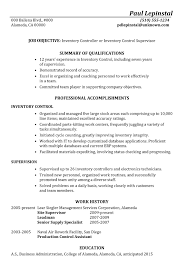 functional resume sample inventory control supervisor warehouse resumes