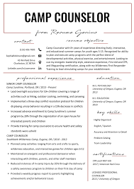 Free Resume Sample Resume Perfect Resume Sample Camp Counselor