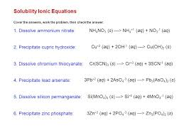 solubility ionic equations