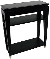 rv astley black 2 shelves glass top console table