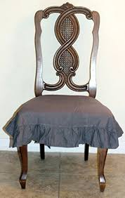 dining chair seat covers. 100% Flax Linen Dining Room Chair Seat Cover With Ruffle Medium Gray Covers