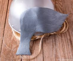 photo of craft foam wings glued to thor s helmet