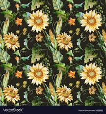 Sunflower Pattern Unique Watercolor Sunflower Pattern Royalty Free Vector Image