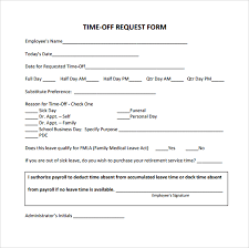pto request template time off request form template microsoft business templates