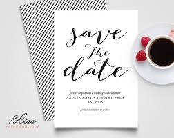 Save The Date Cards Template Black And White Custom Printable Save The Date Save The