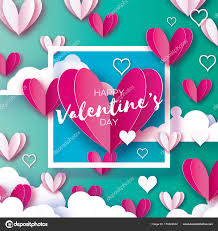 origami happy valentine s day greetings card flying love white and pink hearts angel wings in paper