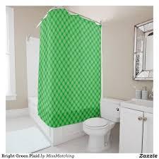 bright green plaid shower curtain