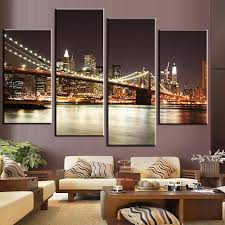 Wall Art Paintings For Living Room Online Get Cheap Brooklyn Bridge Painting Aliexpresscom