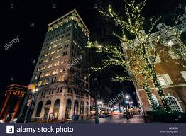 Lancaster Christmas Lights Christmas Lights And Buildings At Penn Square At Night In