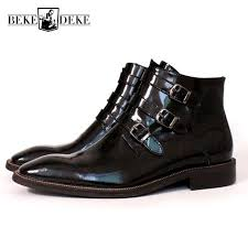 italy handmade runway mens painting ankle boots buckle formal office work safety shoes luxury genuine leather