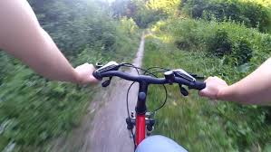 Ride A Bicycle In The Forest Action Camera Hand Rudder Stock