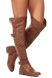 Tan Faux Leather Over the Knee Quilted Biker Boots @ Cicihot Boots ... & Tan Faux Leather Over the Knee Quilted Biker Boots Adamdwight.com