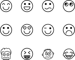 Small Picture Emoticons Collection Set Feelings Coloring Page Wecoloringpage