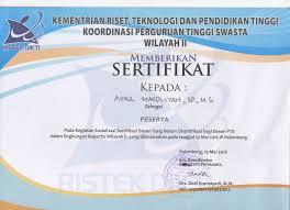 Sertifikat Pelatihan Sertifikat Pelatihan Ristek Dikti 2016 Ainul Mardliyah