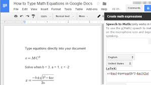 use latex math equations in google docs