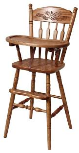 hardwood post type highchair with slide tray and wheat from