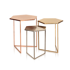buy the set of three hexagon metallic nesting tables at oliver