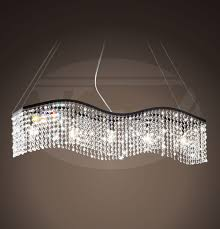 creative home design absorbing electra linear wave 5 light black and crystal chandelier 38w x