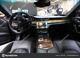 cracow poland may 20 2017 interior design of maserati displa at moto show in cracow poland exhibitors present most interesting aspects of the
