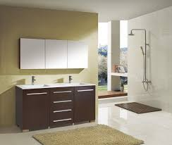 bathroom place vanity contemporary: bathroom brown wooden vanity with double white sink placed on the white tile flooring