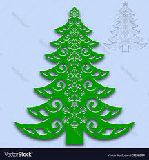 Christmas Tree Cut From Paper Template For Design