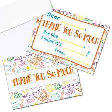 Blank Thank You Notes Kids Thank You Cards Fill In The Blank Thank You Cards For Kids Children Toddlers Boys Girls 25 Thank You Notes With Envelopes Made In The Usa