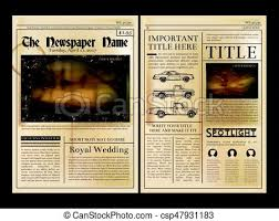 Old Fashioned Newspaper Article Template Layout Design Front Page Of Vintage Newspaper Vector Illustration With Place For Your Text
