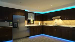 kitchen lighting. Led Kitchen Lighting Warm White Colored Light Uder Cabinet Wooden Material Metal Handle Blue Top Bottom