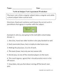 Verbgreement Compound Subject Worksheet Examples Withnswers Do Or ...