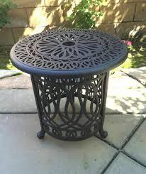 patio end table cast aluminum ice