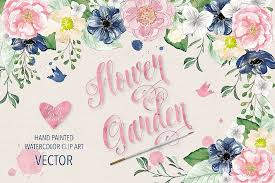 You can download, edit these watercolors for personal use for your presentations, webblogs, or other project designs. Vector Watercolor Navy Blue And Pink Flower Garden Clipart 4306 Illustrations Design Bundles Clip Art Free Clip Art Garden Clipart