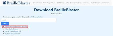 highlighted link to the brailleblaster installer for windows