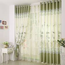 Lively Bamboo Pattern PolyesterLinen Blend Curtain for Office Room
