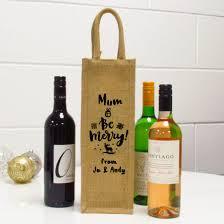 personalised be merry single jute wine gift bag