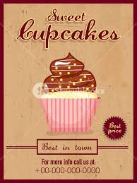 Vintage Menu Card Design Of Delicious Cupcakes For Sweet Shop