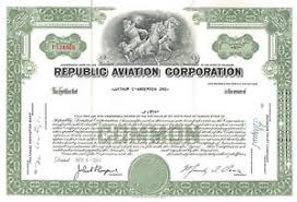 Stock Certificats Republic Aviation Corporation Seversky Aircraft Corporation Stock