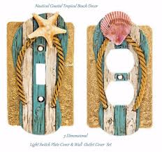 Ceramic Light Covers 3d Nautical Coastal Tropical Beach Light Switch Plate Cover Wall Plate Outlet