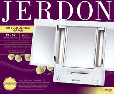 jerdon tabletop tri fold 2 sided lighted makeup mirror with 5x magnification
