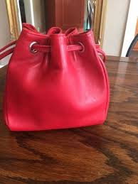 hobo international red leather bucket purse reconditioned excellent for