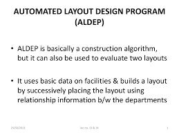 Automated Layout Design Program Aldep Cont