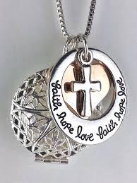 diffuser necklace faith hope love cross heart