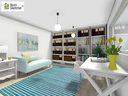 great home office. RoomSketcher-Home-Office-Contemporary-Design-in-Cool-Blue- Great Home Office D