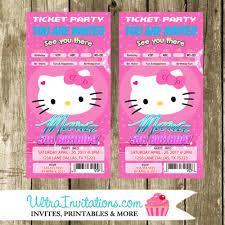 Party Ticket Invitations Extraordinary Hello Kitty Pink Cute Ticket Invitations Birthday Party Invites